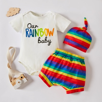 3pcs Baby Boy Rainbow Short-sleeve Cotton Romper Shorts Summer Spring Baby Sets