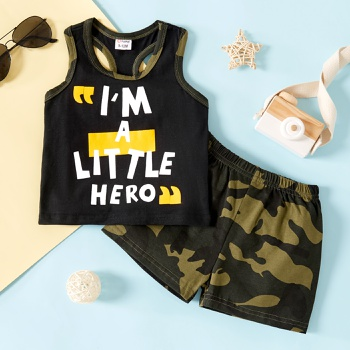 2pcs Baby Boy Sleeveless cotton Street style Letter&Camouflage Baby's Sets