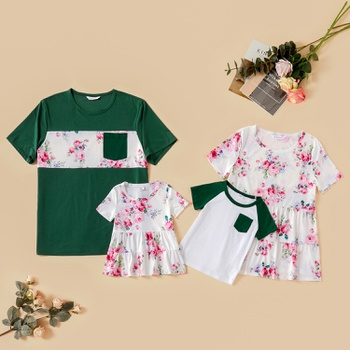 Family Look Round collar Floral Stitching Short Sleeve Matching Tops