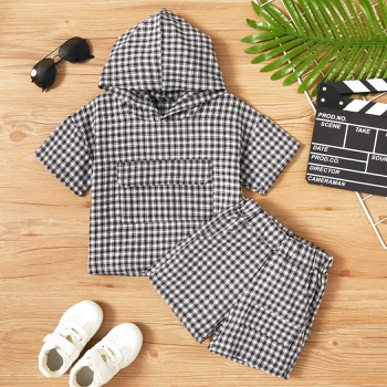 2-piece Toddler Boy Casual Plaid Hooded Top and Shorts Set