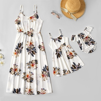 Floral Print Sling Dresses for Mommy and Me(Off Shoulder Baby Rompers)