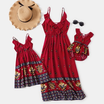 Mommy and Me Floral Print Ruffle V-neck Tank Dresses