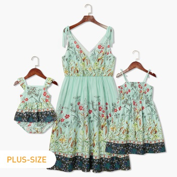 Light Green Floral Print Matching Midi Sling Dresses
