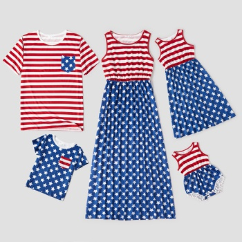 Independence Day Series Stripe Star Print Family Matching Sets(Tank Dresses - Short Sleeve T-shirts - Rompers)