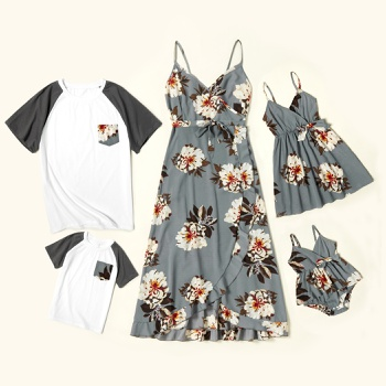 Floral Print Family Matching Sets(Sling V-neck Dresses for Mom and Girl ; Raglan Sleeves T-shirts for Dad and Boy)
