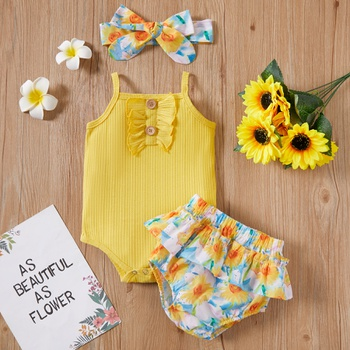 3pcs Baby Girl Sling Cotton Sweet Floral&Daisies Baby's Sets