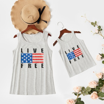 Independence Day Series Sleeveless Grey Tank Tops for Mommy and Me