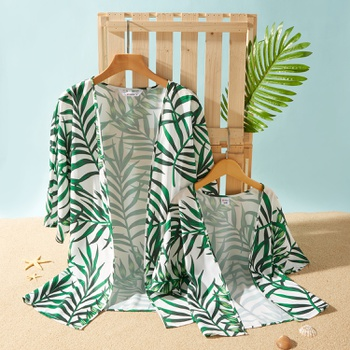 Casual Leaf Print Cover Up for Mommy and Me