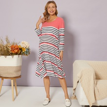 Maternity Long-sleeve Striped Nursing Dress