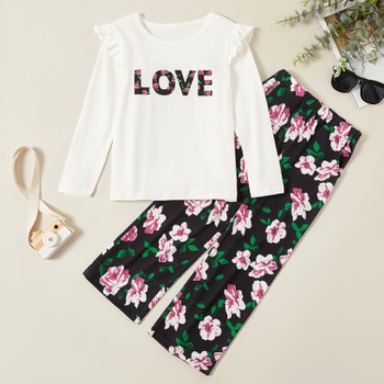 Trendy LOVE Flare-sleeve Long-sleeve Tee and Floral Allover Print Pants Set