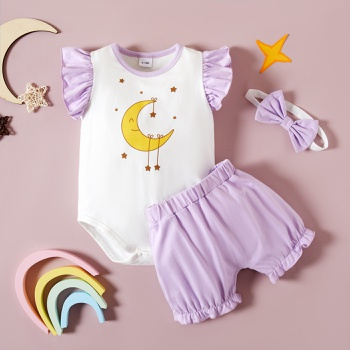 3pcs Baby Girl Cotton Moon Flutter-sleeve Cute Romper Shorts Baby Sets