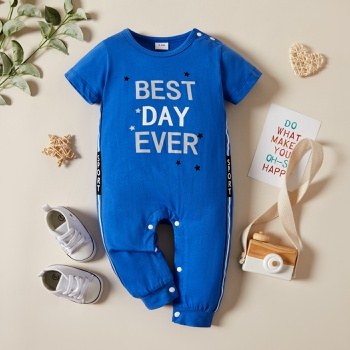 Baby Short-sleeve Sports Letter Jumpsuit