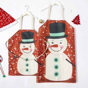 Mommy and Me Christmas Cute Snowman Printed Linen Aprons