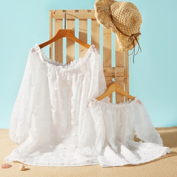 Lantern Sleeve Solid Beach Cover Up for Mommy and Me