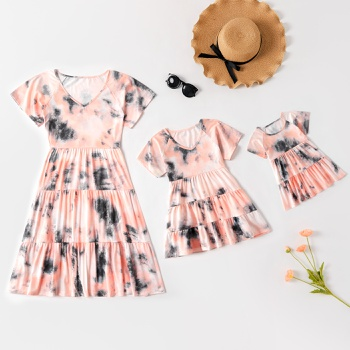 Tie-dye Series Short Sleeve Dresses for Mommy and Me