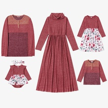 Mosaic Family Matching Spring Warm Series Sets(Turtleneck Dresses -  Long Sleeve T-shirts - Rompers)