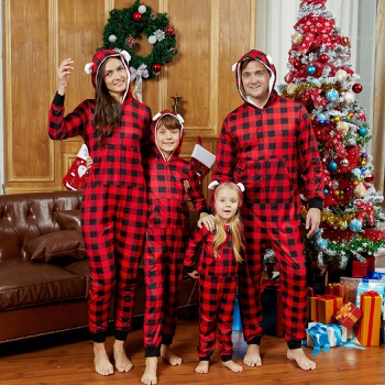 Mosaic Family Matching Bear Back Patch Christmas Hooded Pajamas Onesies (Flame Resistant)