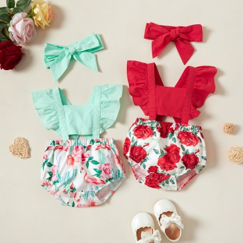 2pcs Baby Girl casual Floral Rompers & Bodysuits