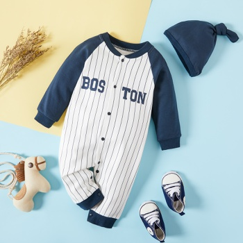 2-piece Baby Letter Striped Jumpsuit and Hat Set