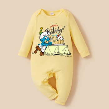 Smurfs Baby Boy/Girl My First Birthday Cotton Jumpsuit/One Piece