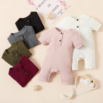 Baby Solid Button Design Bodysuit