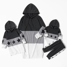 Colorblock Star Print Hooded Sweater Dresses for Mommy and Me