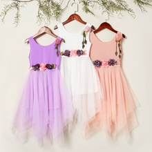 Kids Girl Flower Mesh Chiffon Dress