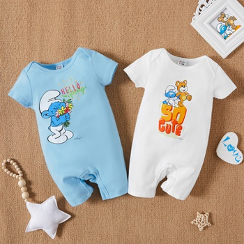 Smurfs Baby Boy/Girl Floral and Letter Prints 100% Cotton One Piece
