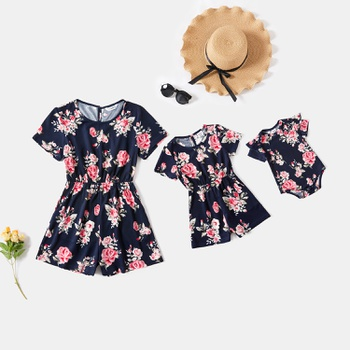 Floral Print Short-sleeve Matching Shorts Rompers
