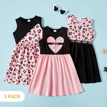 3-piece Kids Leopard Love Dresses Set