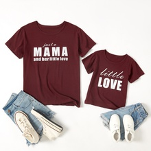 Love Letter Print Red Wine Color Cotton T-shirts for Mom and Me