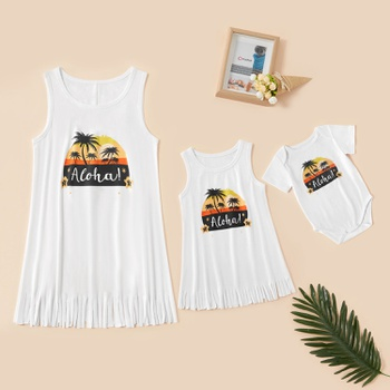Coconut Tree Pattern White Tank Tops for Mom and Me