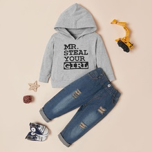 2-piece Baby / Toddler Boy Letter Print Hoodie and Jeans Set