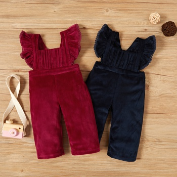 Baby Girl straight Jumpsuits Velvet Winter Warm One-Pieces Body Suit Infant Sleeveless Clothes Outfits