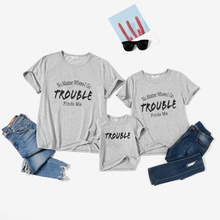 Letter Print Cotton Grey Family Matching T-shirts