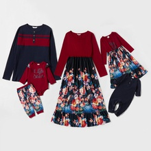 Mosaic Family Matching Cotton Knitting Sets(Floral Dresses - Color Block Tee - Rompers)