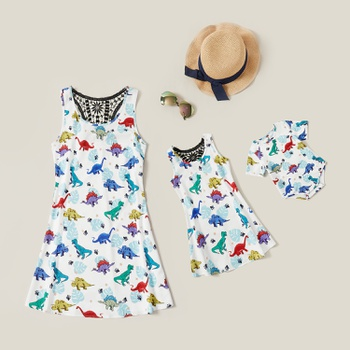 Animal Dinosaur Print Matching Dresses for Mommy and Me