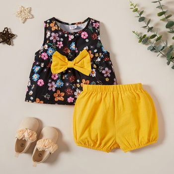 2pcs Sleeveless Flower Color contrast Pretty Set
