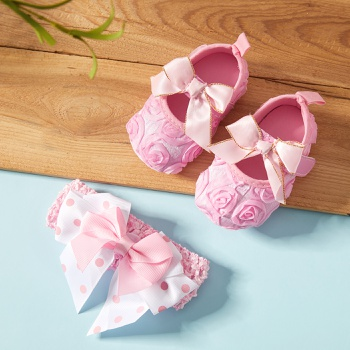 Baby / Toddler Bowknot Prewalker Shoes and Hairband Set