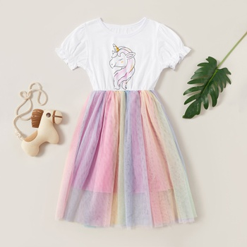 Beautiful Unicorn Rainbow Print Flare-sleeve Mesh Dress