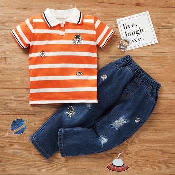 2-piece Baby / Toddler Striped Polo and Jean Set