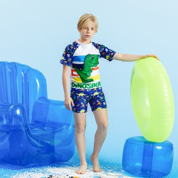 3-piece Kids Boy Dinosaur Tee and Shorts with Hat Swimsuit