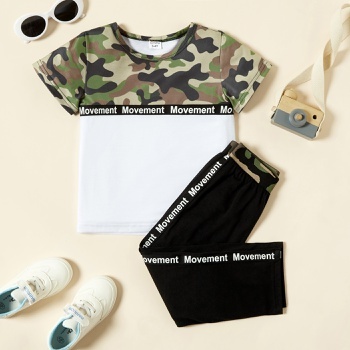 Toddler Boy Camouflage Pattern Letter Printed Top and Pants Set