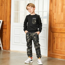 Trendy Camouflage Pocket Sweatshirt and Pants Sets