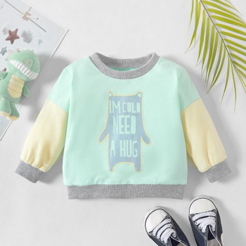 1pc Baby Boy Long-sleeve Cotton casual Pullovers & Hoodies