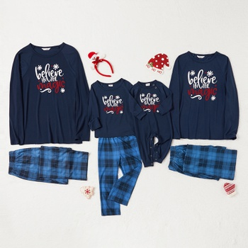 Family Matching ' Believe in The Magic ' Top and Plaid Pants Christmas Pajamas Sets (Flame Resistant)