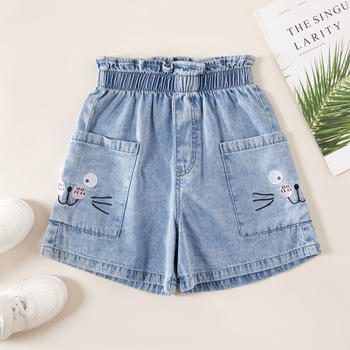Kids Girl Cat Denim Shorts
