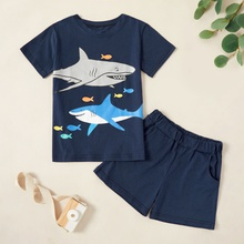 Kids Boy Cartoon Shark Print Tee and Side Pocket Shorts Set