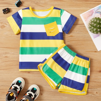 2-piece Toddler Boy Striped Tee and Shorts Set