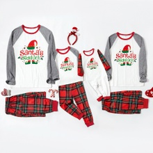 Family Matching Elf Print Plaid Christmas Pajamas Sets (Flame resistant)